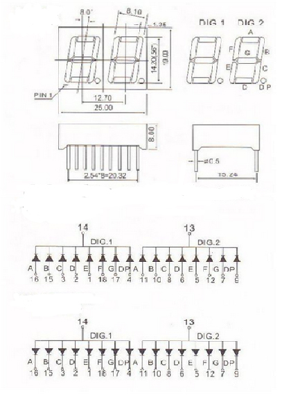 Led 7 Thanh 0.56Inch Cathode 2 Số