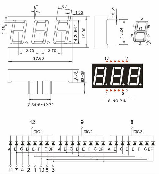 Led 7 Thanh 0.56 Inch Cathode 3 Số