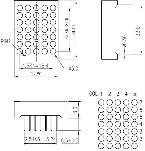 Led Matrix 5X7 3MM