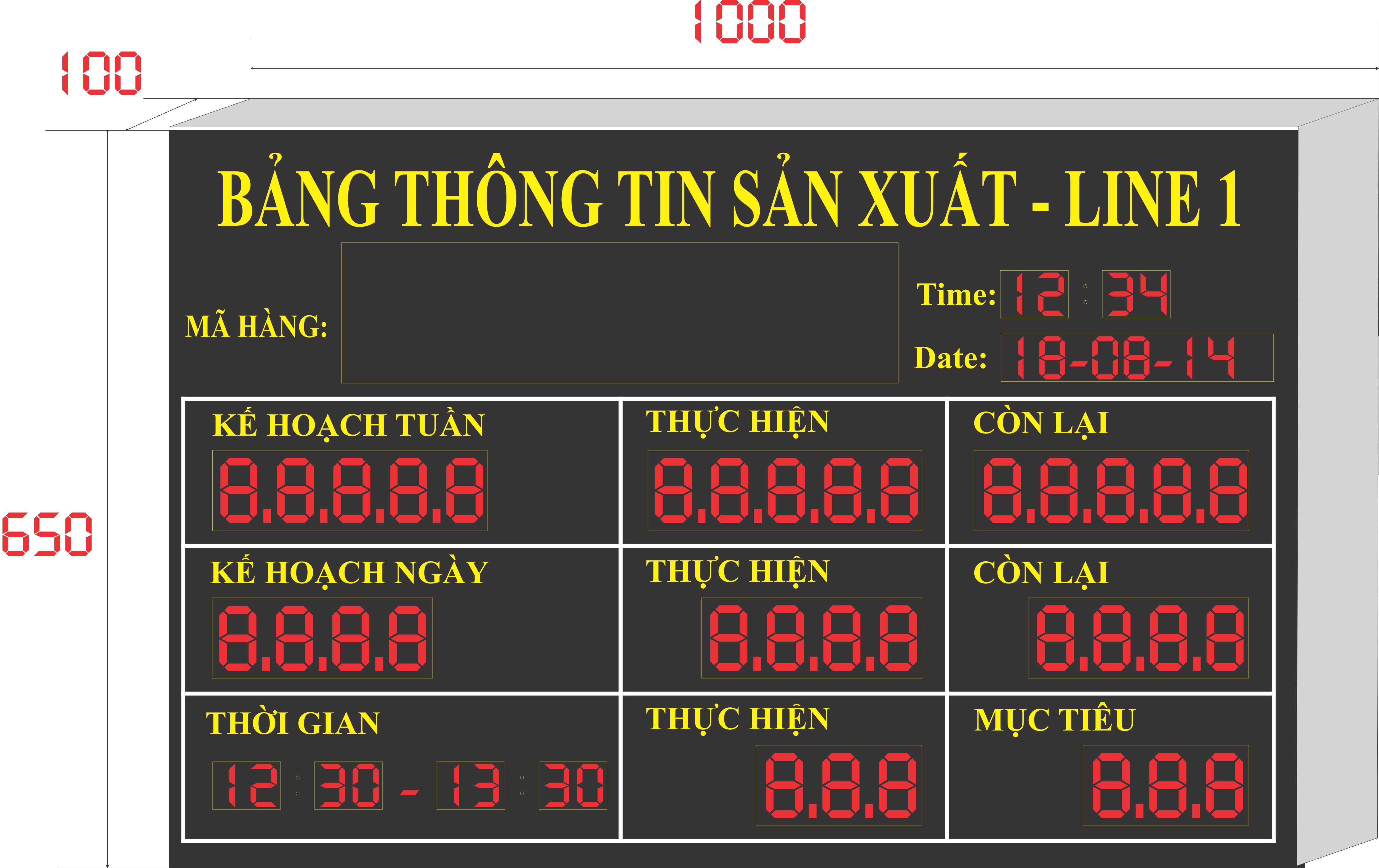 Bang led dien tu hien thi thong tin san xuat cho cong ty may