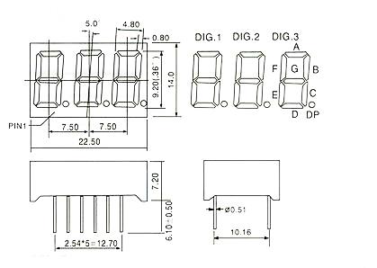 Kích thước LED7-0.36 Inch Anode 3 Số